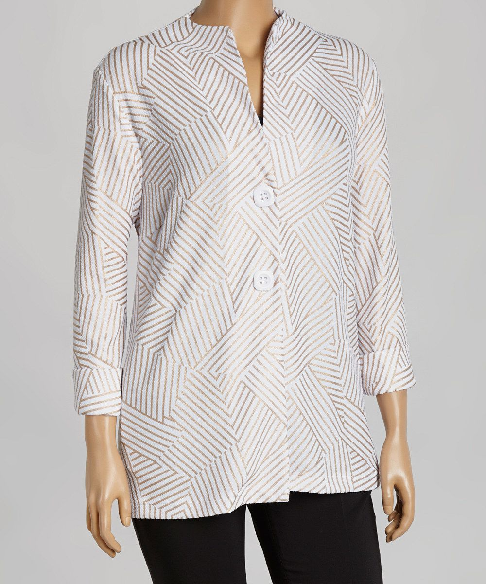 Look at this Seven Karat White & Gold Collarless Jacket - Plus on #zulily today!
