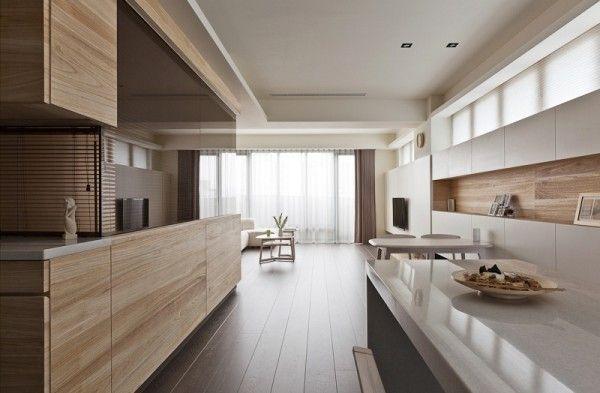 Natural taiwanese interior design sleek kitchen design wooden floor