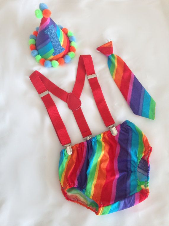 Rainbow 1st Birthday Outfit Rainbow Baby Boy 1st Birthday Outfit