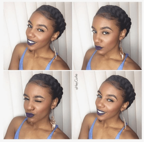 Quick Crown Braid In Just 2 Mins Braided Crown Hairstyles Quick Natural Hair Styles Short Natural Hair Styles