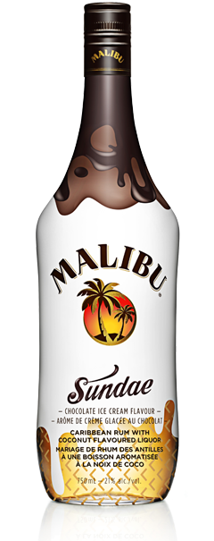 MALIBU SUNDAE is a treat with every sip. The same Caribbean rum you love with a scoop of chocolate ice cream flavor. When creamy chocolate and coconut come together, it's a party in every bottle.