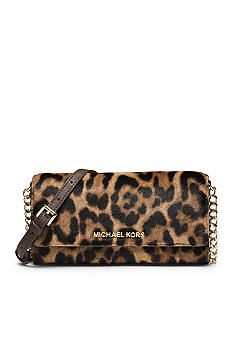 2bf7014524ee MICHAEL Michael Kors Jet Set Travel Leopard Hair Calf Chain Wallet Crossbody