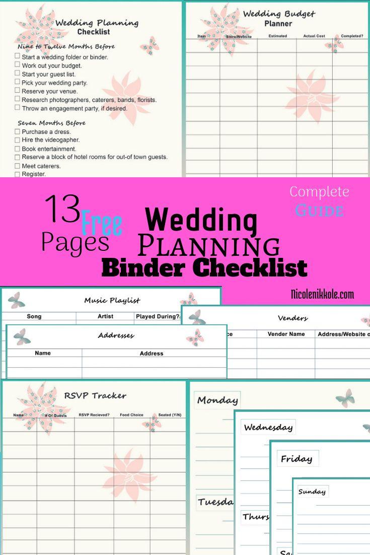 How To Plan A Wedding + Printable Binder Checklists