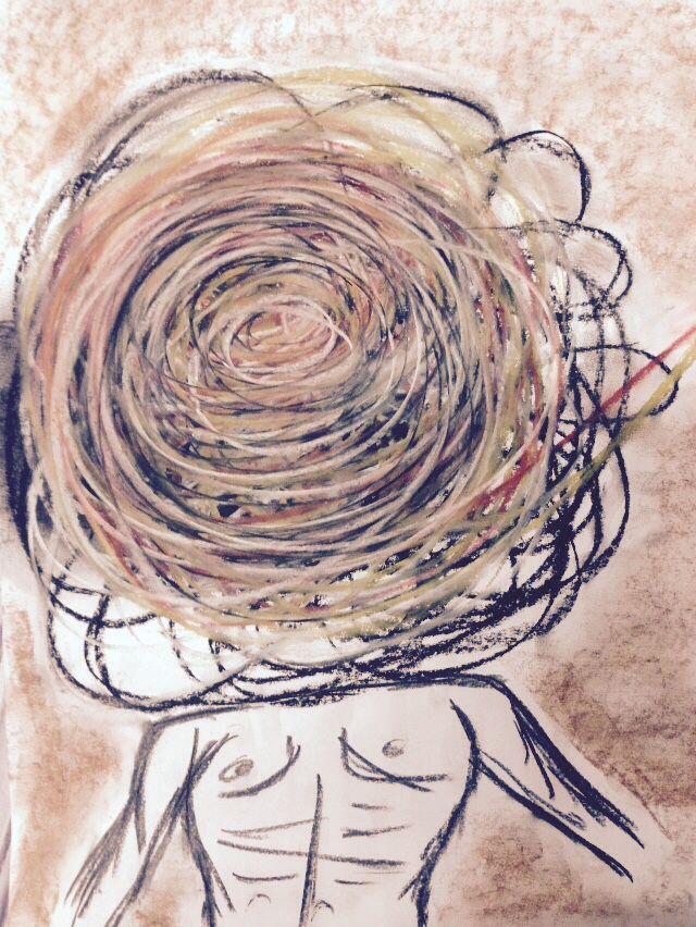 Turmoil, pastels on paper, 2015, Glenn Loughrey