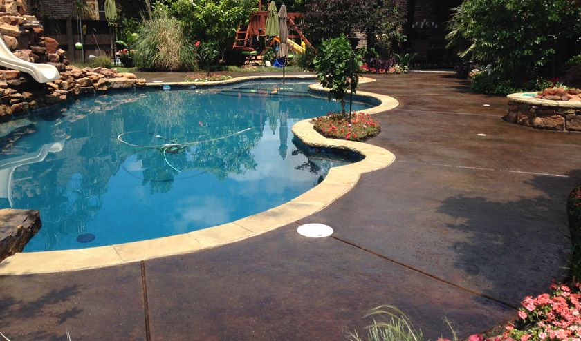 Stained Concrete Pool Deck In Dark Walnut This Color Is A Rich
