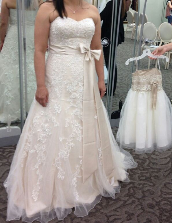 Champagne wedding dress with lace overlay