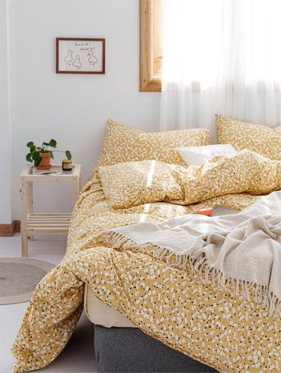 100 Cotton Yellow Floral Duvet Cover Twin Queen Kingsoft Etsy In 2021 Duvet Covers Floral Duvet Covers Yellow Bedding Sets