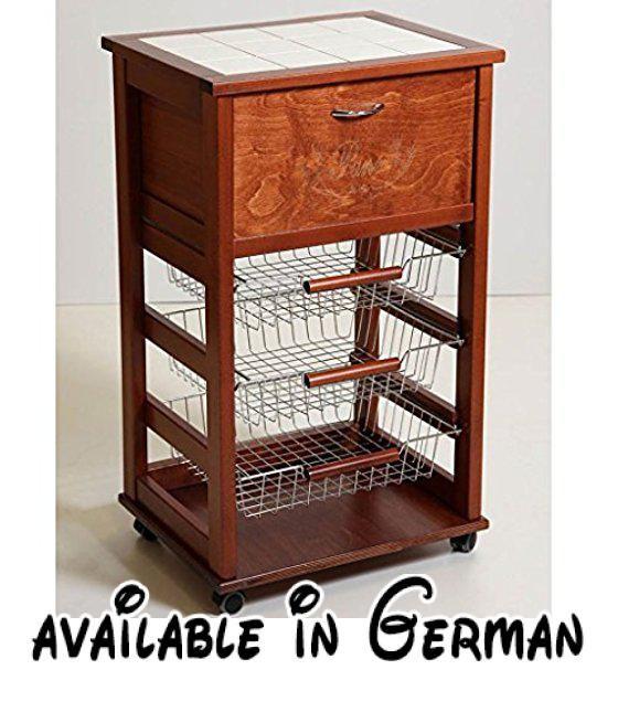 B078FP8W7C  Holz Küche Trolley für BrotAmbrogio Chef de salle - küchenwagen mit schubladen