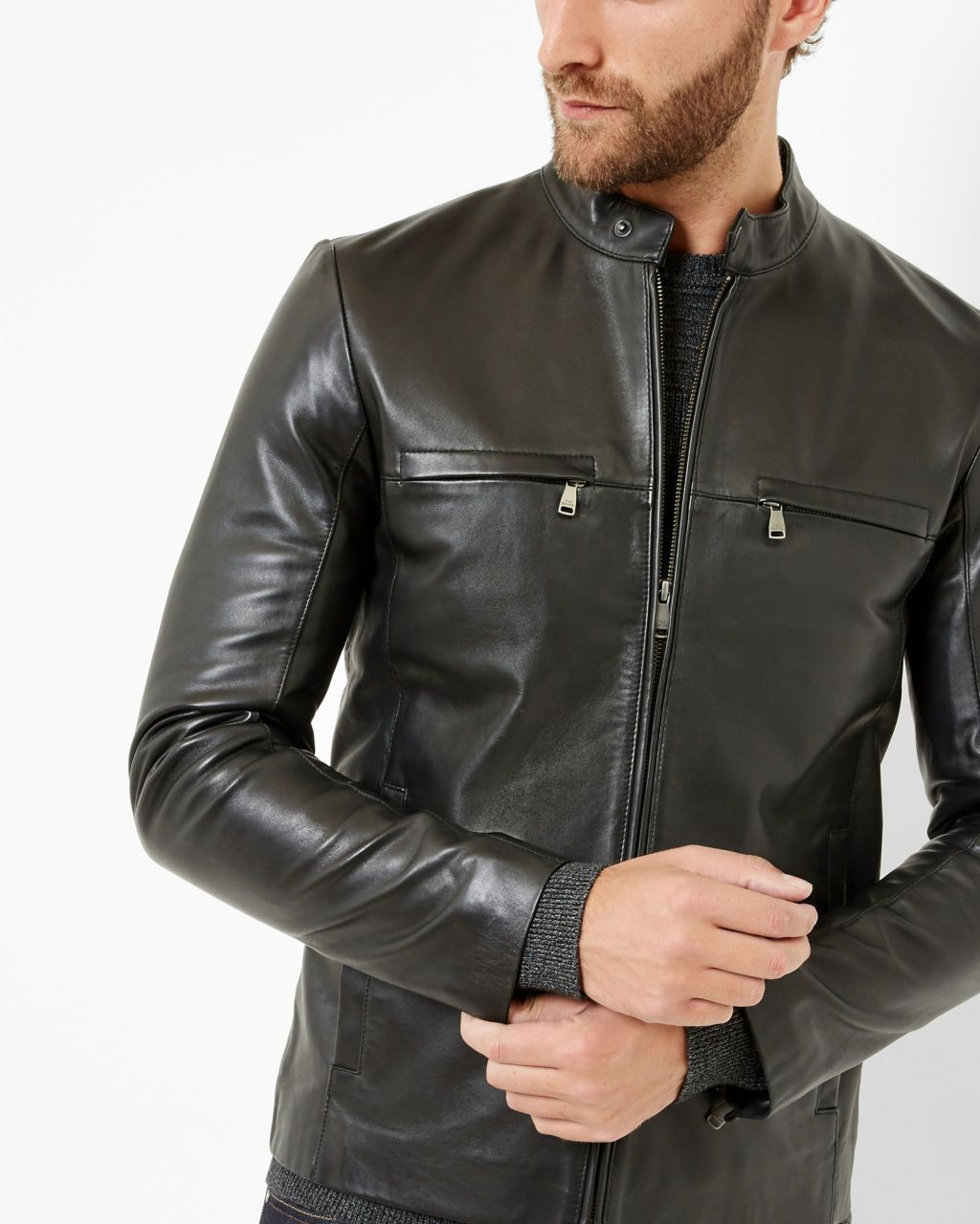 85621b2fa1e976 Leather jacket - Black