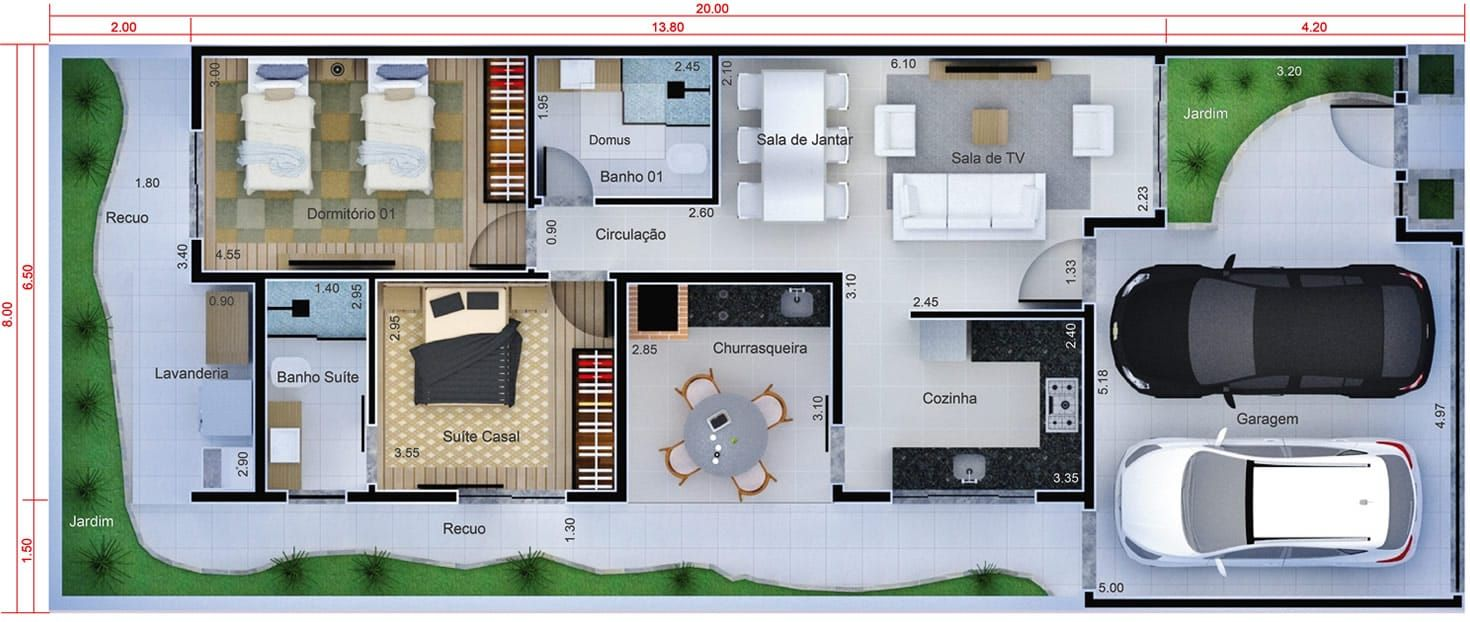 Planta de casa com cozinha na frente planta para terreno for Casa moderna 8x20