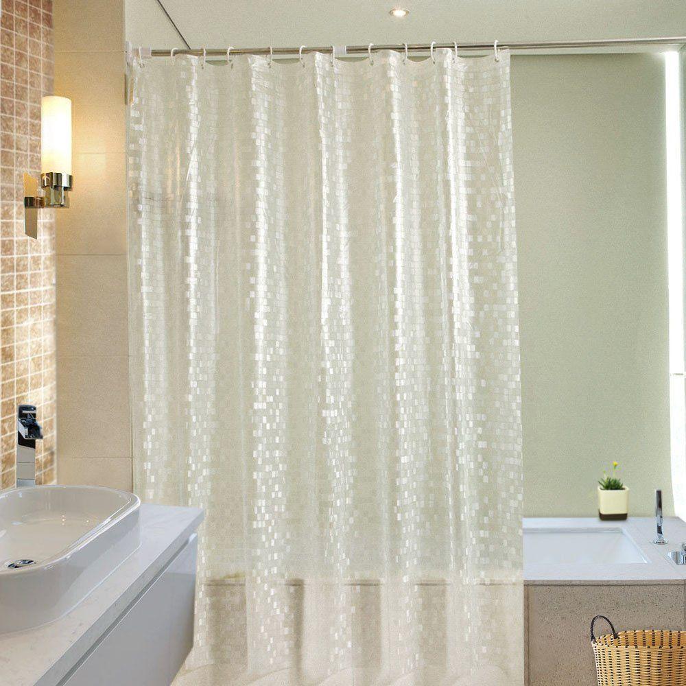 Ufriday Waterproof Vinyl Shower Curtains Glitter Print With Metal