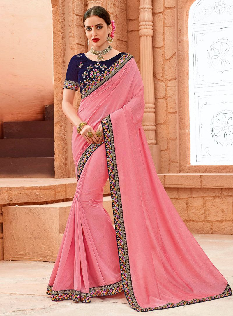 Pink Crepe Saree With Blouse | Hindú - Bollywood - Indian - Sari ...