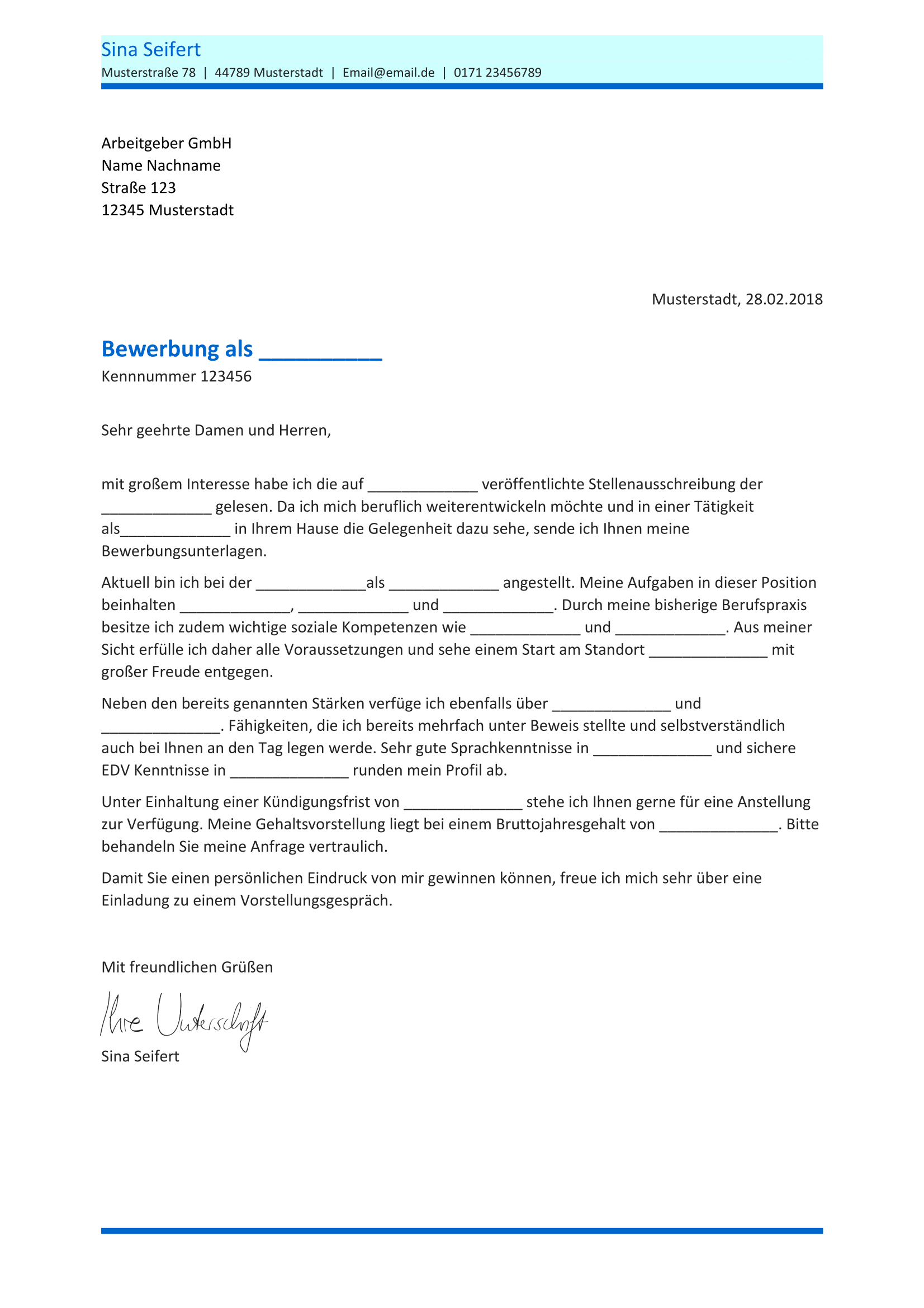Briefprobe Briefformat Briefvorlage Bewerbung Schreiben Bewerbungsschreiben Vorlage Bewerbung