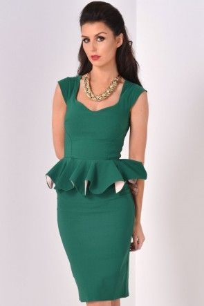 Linda Frill Peplum Pencil Dress in Emerald