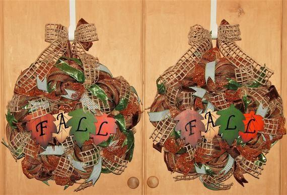 Double Door Fall Wreaths, Double Door Autumn Wreaths, Double Door Fall Decor, Fall Wreaths, Autumn W #doubledoorwreaths