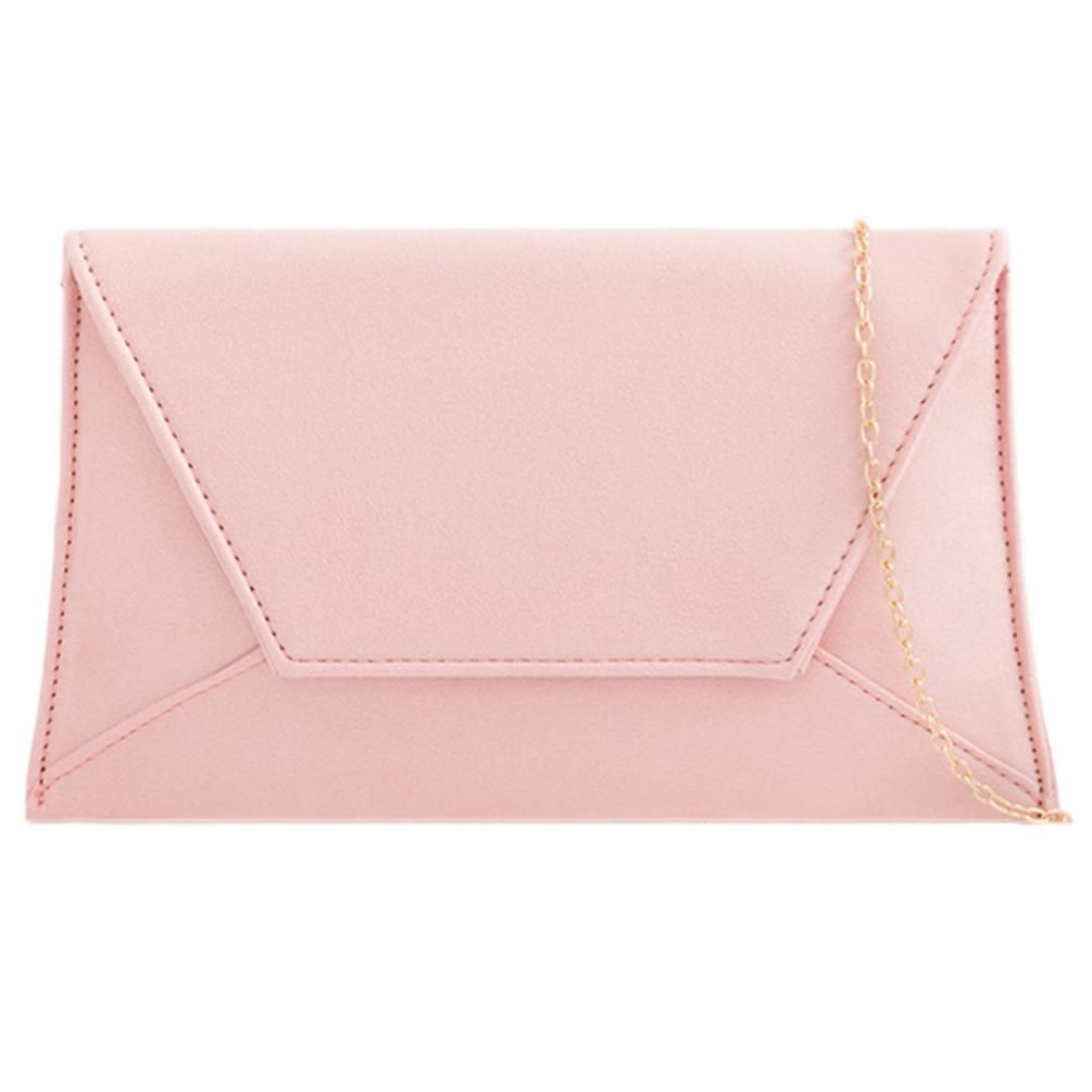WOMENS FLAT ENVELOPE FAUX SUEDE PROM BRIDAL CHAIN STUDDED EVENING CLUTCH BAG