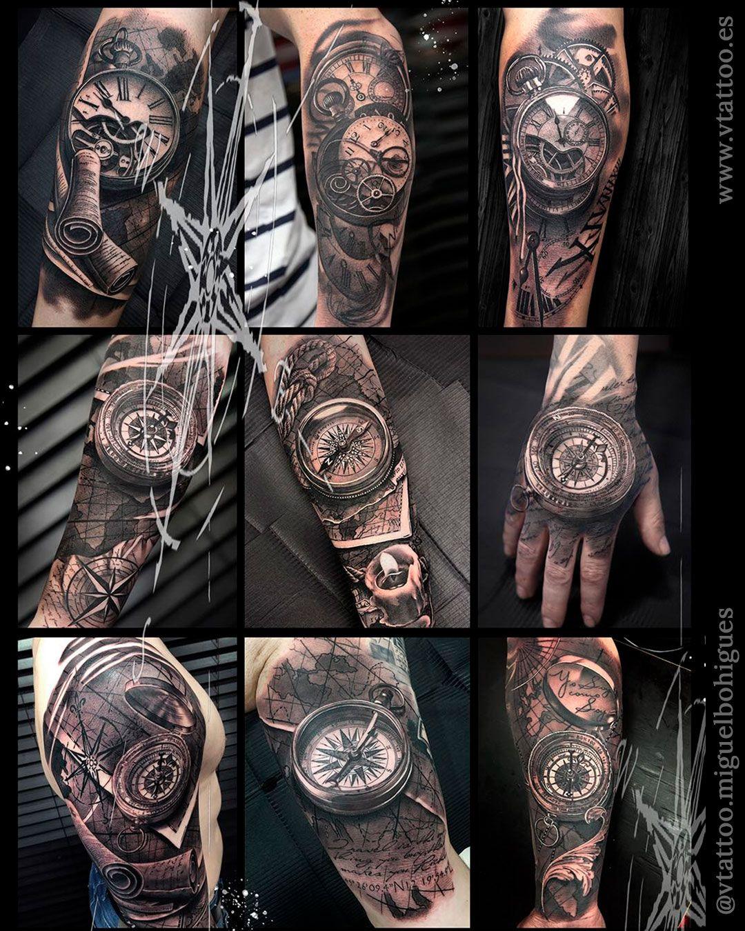 Tattoo Relog Tattoo Clock Compasstattoo Compass Tattoo