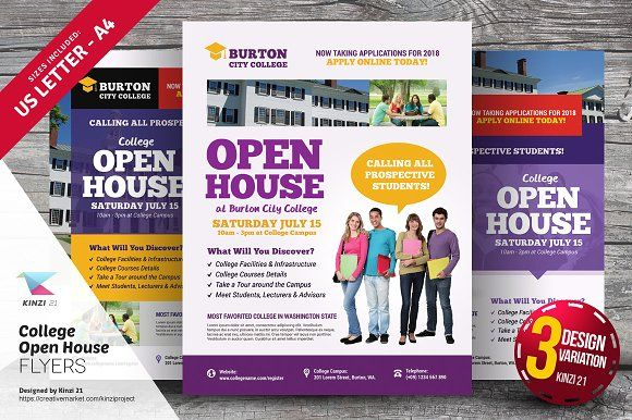 College Open House Flyer Templates By Kinzi On Creativemarket