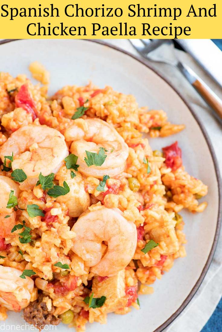 Spanish Chorizo Shrimp And Chicken Recipe Chicken And Shrimp Recipes Chicken Paella Paella Recipe