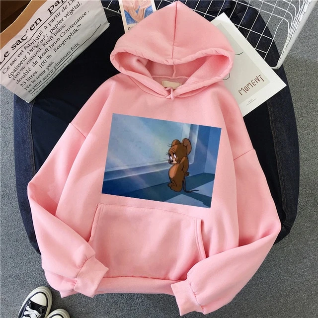 Harajuku Hoodies For Girls Cat Mouse White Pink Hooded Tops Women S Sweatshirt In 2020 Vintage Sweatshirt Graphic Hoodies Hoodies Womens
