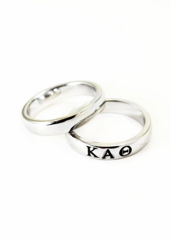 Kappa Alpha Theta Sterling Silver Skinny Band Ring With Black Enamel Greek Letters Sorority Ring Ka8 Sorority Jewelry Gifts For Her Kappa Alpha Theta Silver Black Enamel