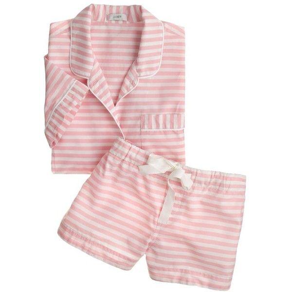 J.Crew Short-sleeve sleep set in stripe (300 ILS) ❤ liked on Polyvore  featuring intimates bbfcb2d17