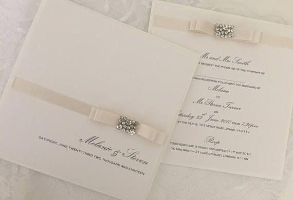 Tiffany Collection SAMPLE evening wedding invite handmade classic