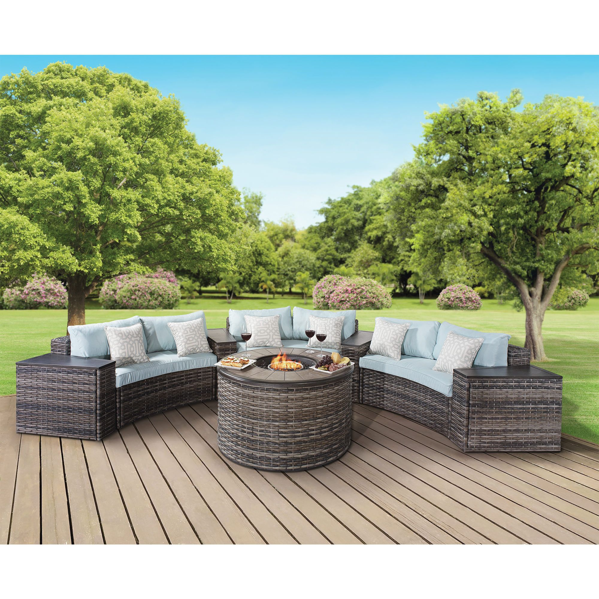 Berkley Jensen Hull 8 Pc Fire Chat Set Garden Modernbj S Wholesalemodern Furnitureoutdoor