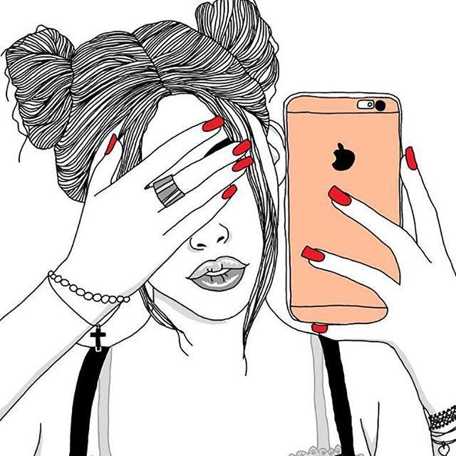 Outlines Outline Tumblr Girl Draw Illustration Digital Art