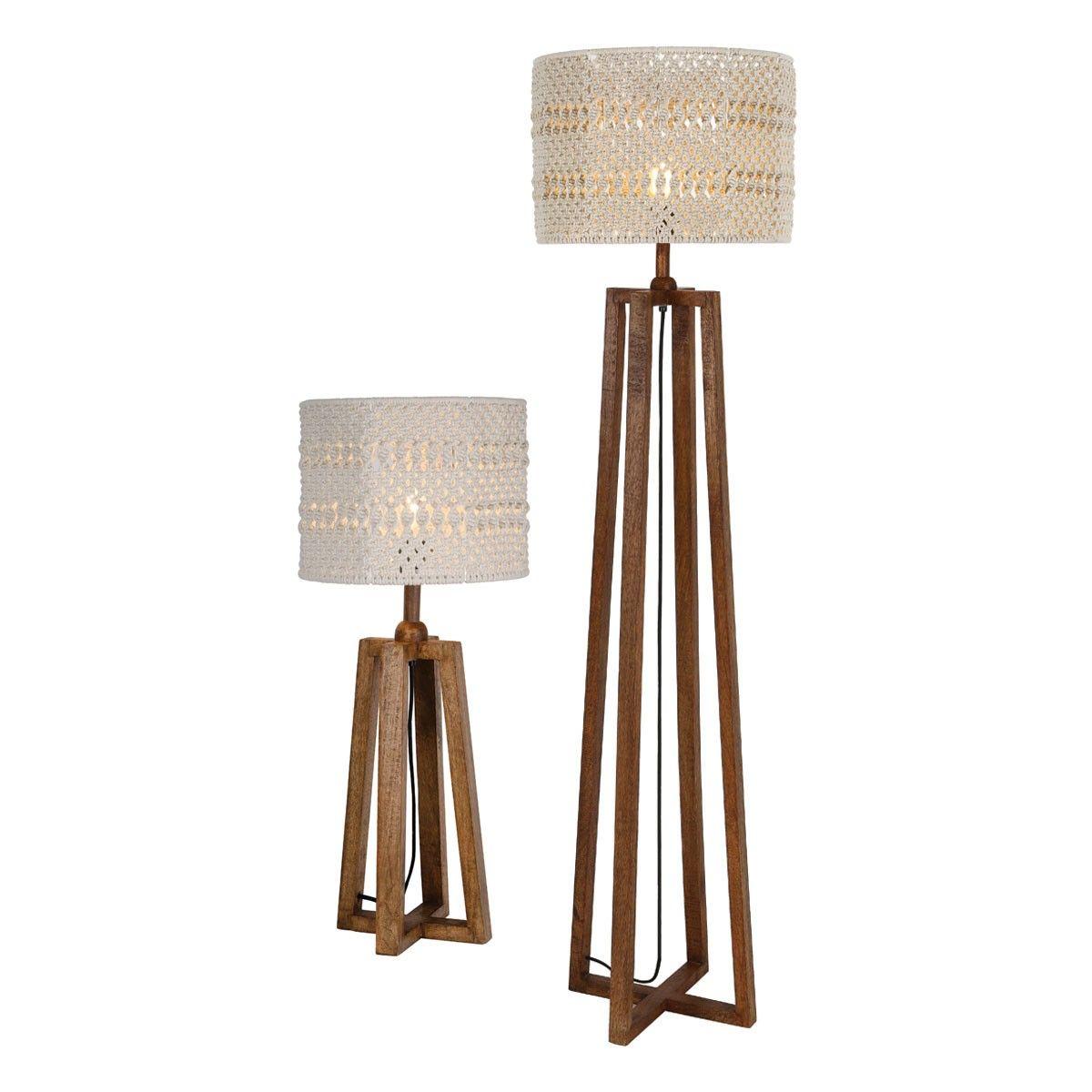 Devyn Table Floor Lamp Wood C W Cream Macrame Shade The Devyn Table And Floor Lamp Twin Pack Has Washed Dark Wo Lamp Sets Wood Floor Lamp Floor Lamp Table