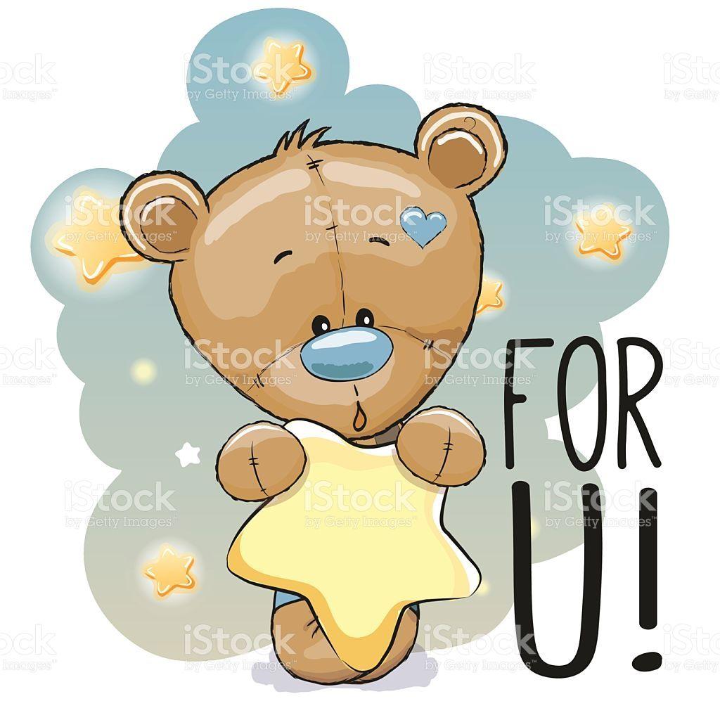 Cute Cartoon Teddy Bear With Star On The Stars Background Cute Cartoon Tatty Teddy Teddy