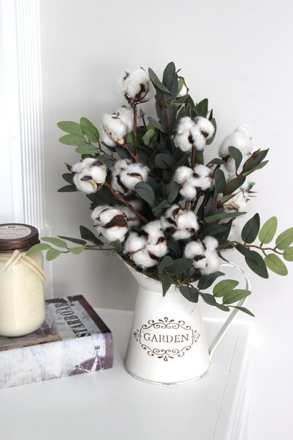 Rustic Farmhouse Decor Cotton Boll Stems Cotton Arrangement Etsy Cotton Decor Farmhouse Decor Shabby Chic Decor Diy