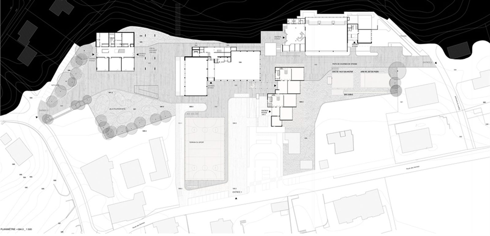 #OPERASTUDIO  #project  #architecture #international #contest #switzerland #genève #saintlegier #school #gymnasium #landscape #plan #black #drawing