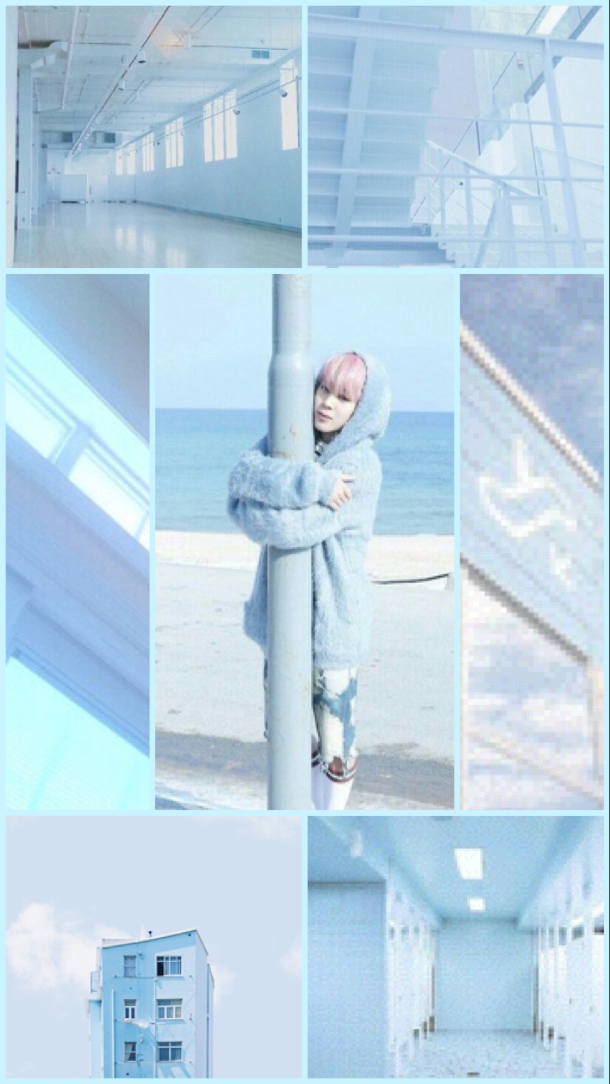 Hey! I made a pastel blue aesthetic Jimin wallpaper! Hope