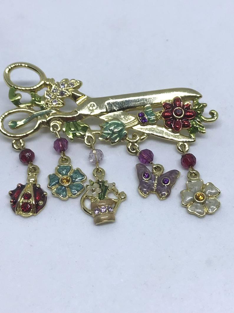 7b64c8067 Vintage MONET Brooch Pin Gold Tone Garden Shears with Rhinestones ...