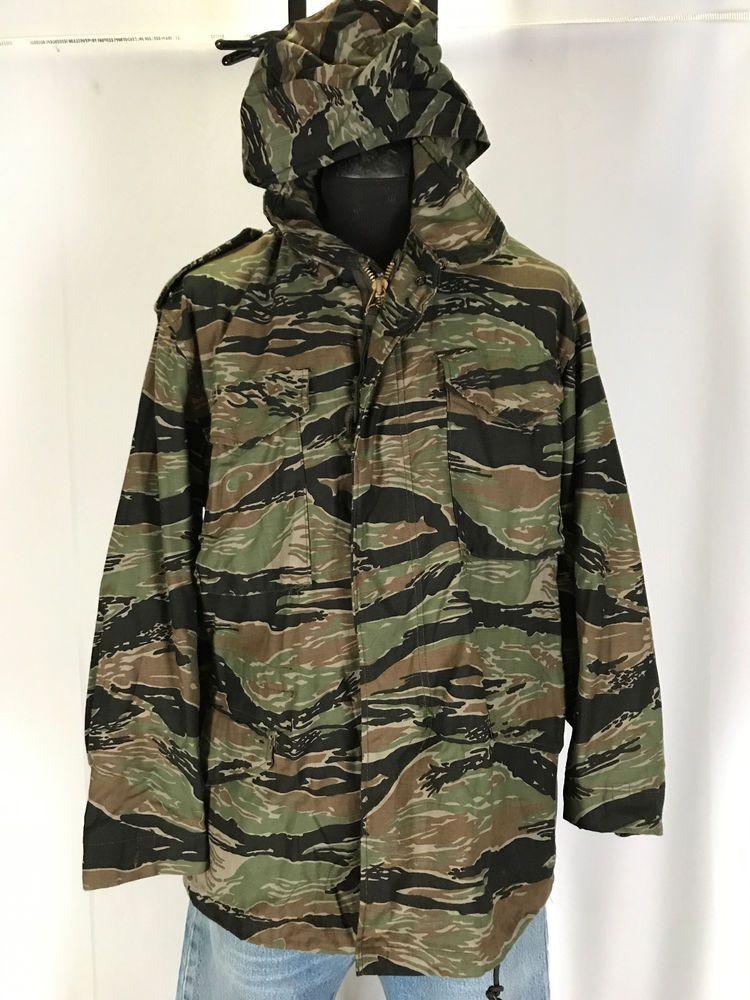 b25416b4a038b VIETNAM Tiger Stripe Field Jacket Hooded & Liner M65 Military MEDIUM R