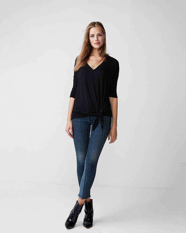 ba856d92 Express One Eleven Tie Hem V-Neck London Tee | Products | Fashion ...