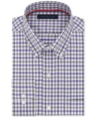 b5405232f Tommy Hilfiger Men's Classic-Fit Non-Iron Purple Check Dress Shirt ...