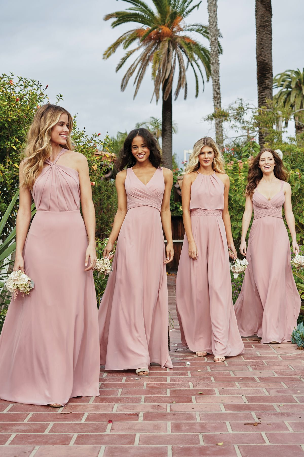 P216065 Charlotte Chiffon & Lace Bridesmaid Jumpsuit with High Jewel Neckline