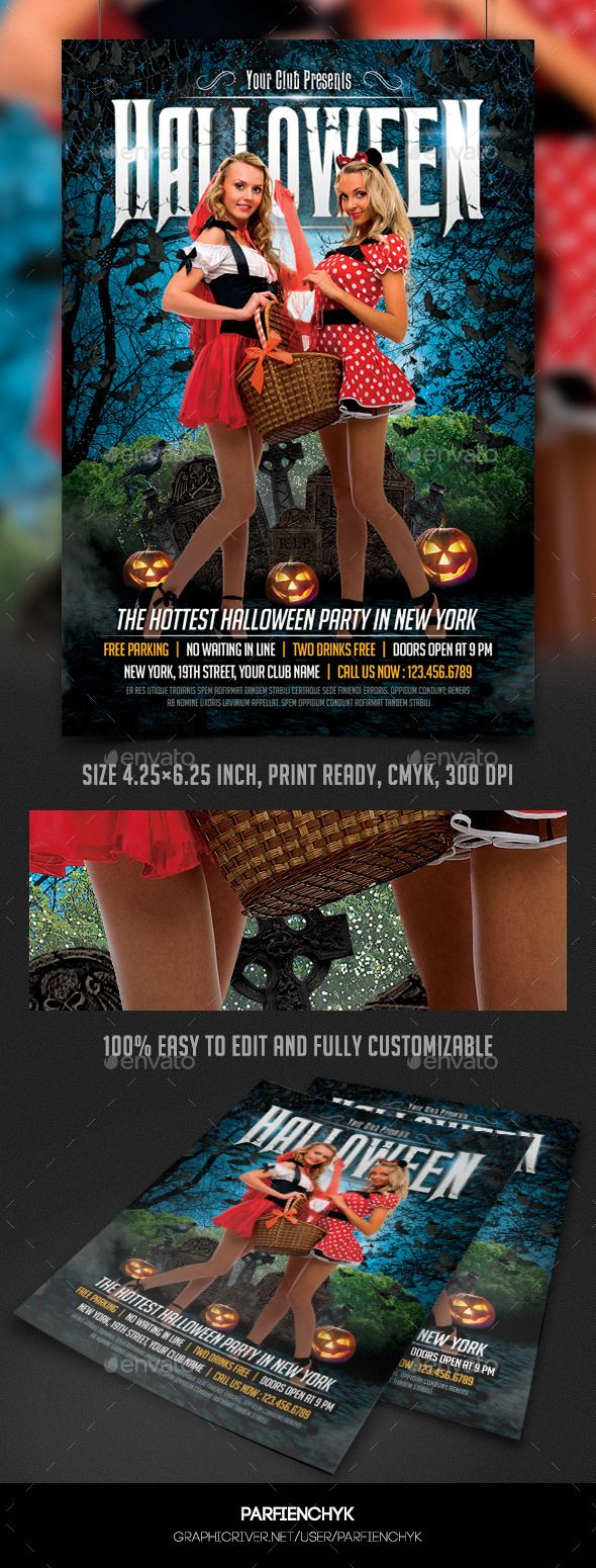 Sexy Halloween Party Flyer Template | Sexy, Template and Halloween