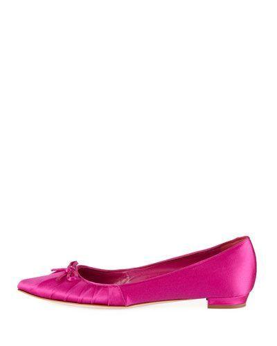 a87e04b8739f Manolo Blahnik Pleata Point-Toe Satin Ballerina Flat