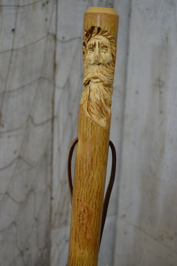 Walking stick staff wood spirit carving