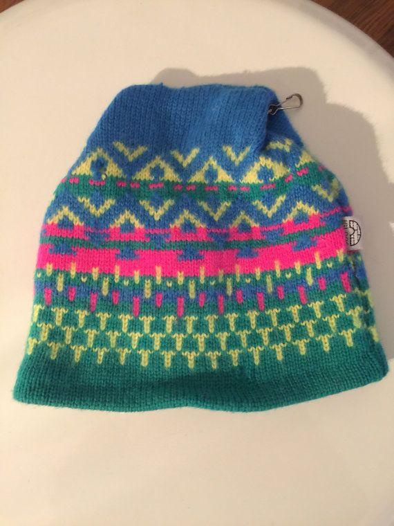 Vintage 80 s 90 s fluorescent neon wool multi pattern knit Igloo brand ski  hat 50d50af5ac3