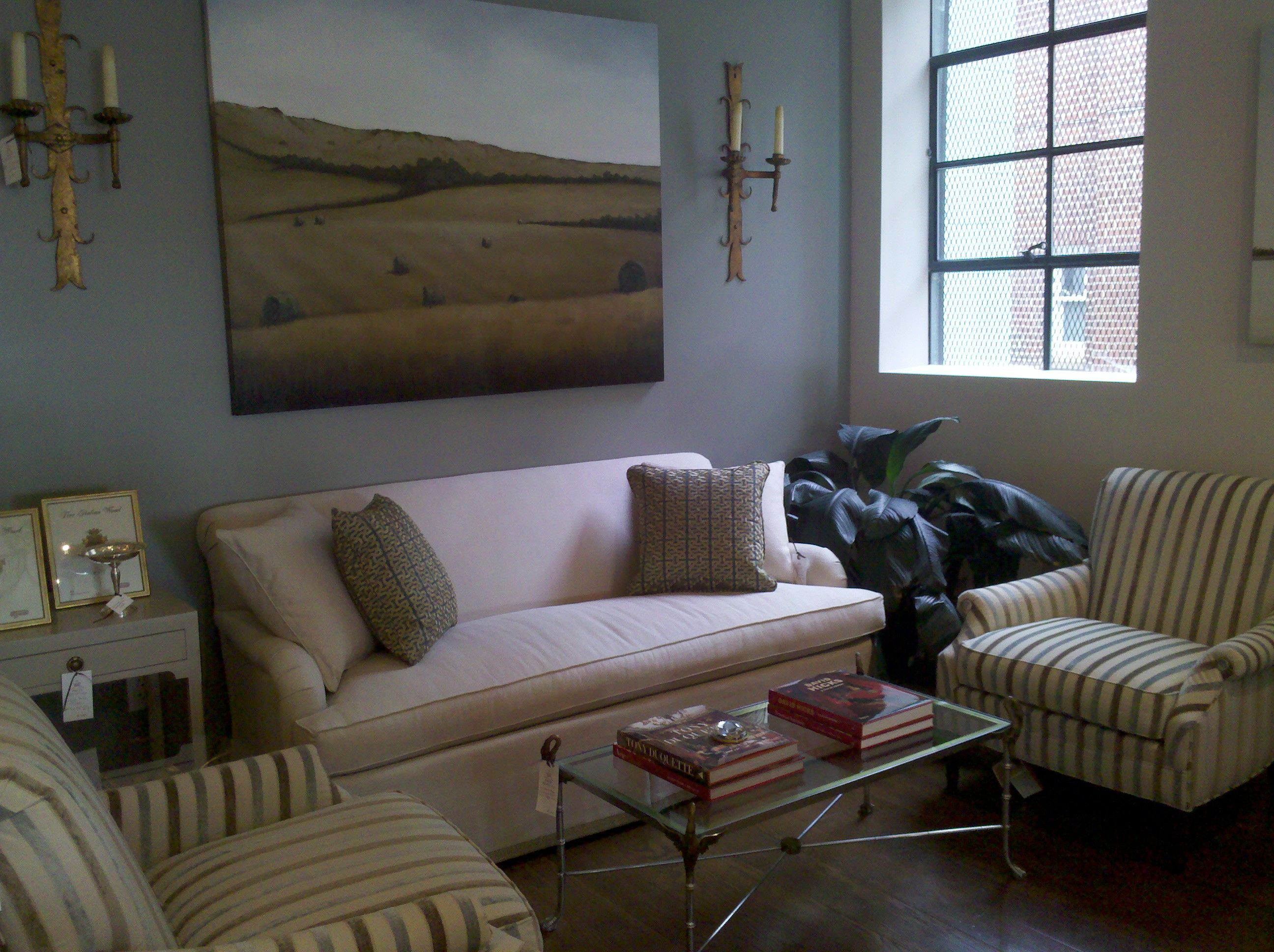 Hickory Chair sofa and chairs with midcentury swan coffee