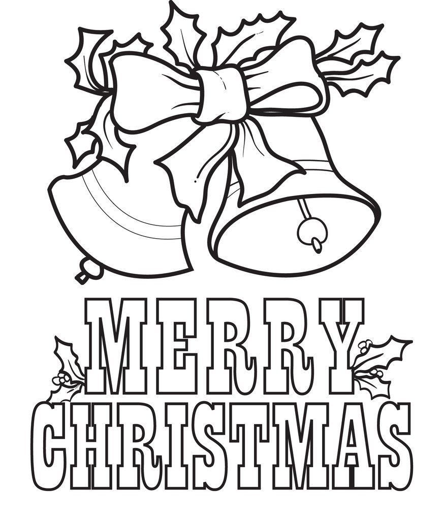Printable Merry Christmas Bells Coloring Page for Kids