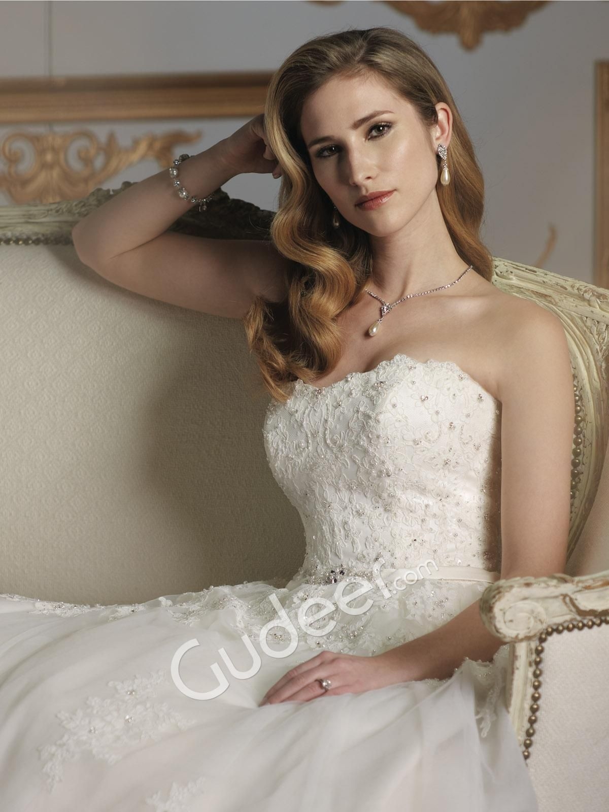 Twopiece lace embroidered strapless bridal ball gown wedding