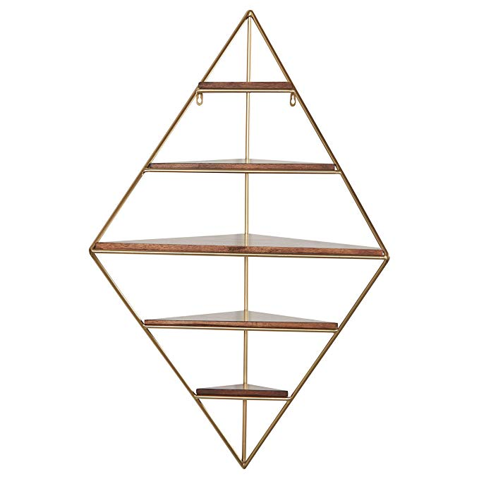 Amazon Com Rivet Modern Corner Floating Triangle 5 Shelf Wall Unit Decor 36 Inch Natural Wood And Gol Wall Unit Decor Corner Shelf Unit Corner Wall Shelves