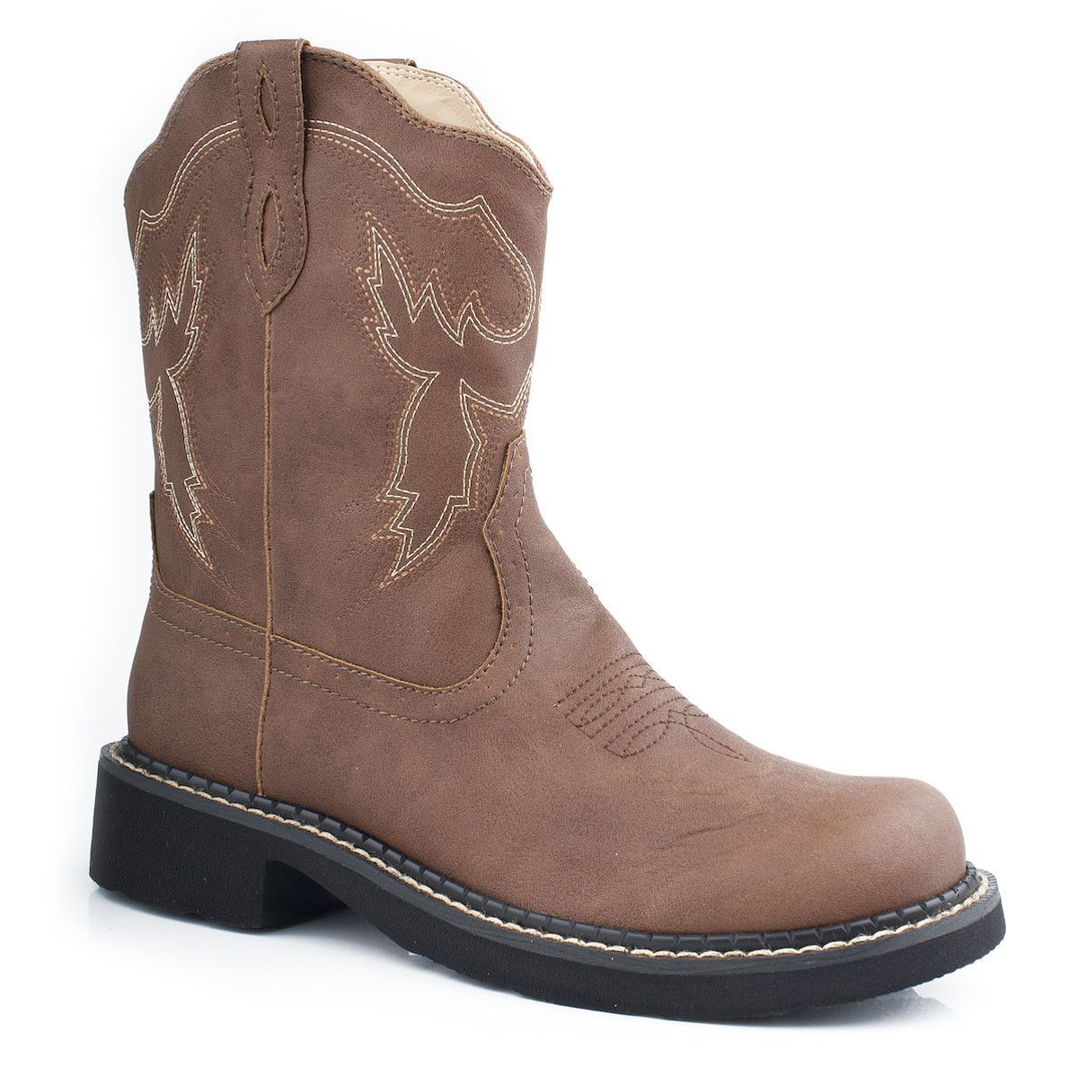 "Roper Womens Chunk Series II Brown Distressed Faux Leather 8"""" Cowboy Boots"