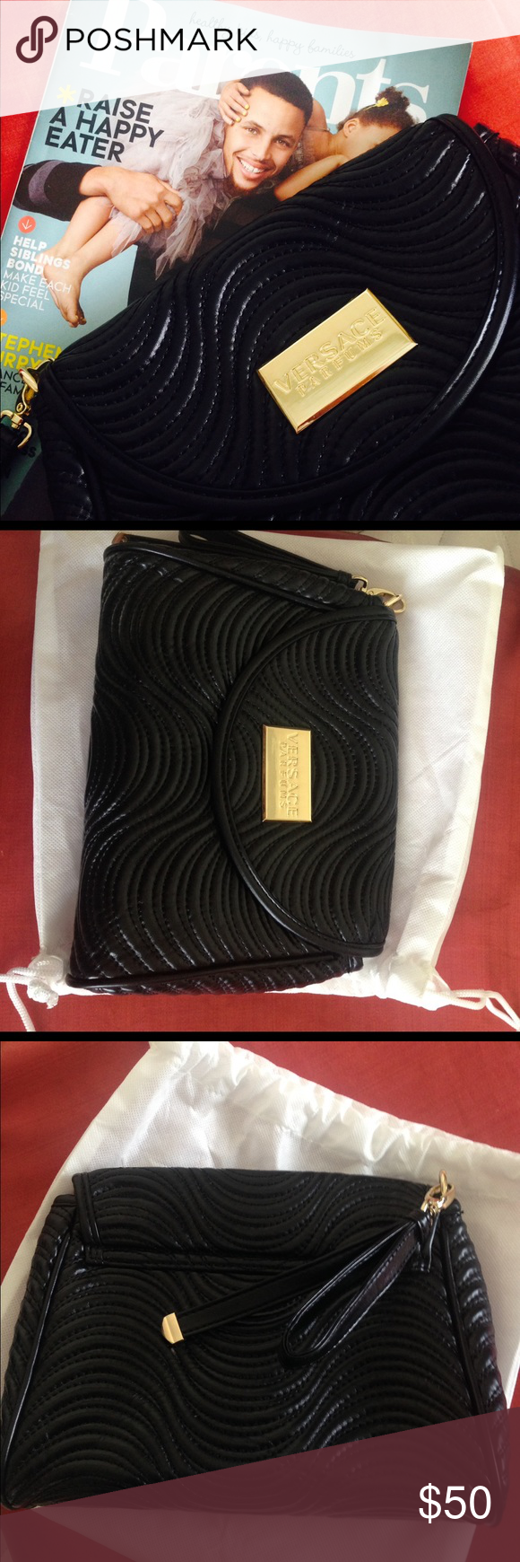 Versace perfume or cosmetic bag/clutch NWOT NWOT! Authentic Versace perfume or Cameron bag or clutch in black and gold, has one zipper pocket inside, magnet closure. Comes with a dust bag. Size is 10 by 7! Versace Bags Cosmetic Bags & Cases