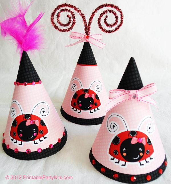 Free Printable Ladybug Party Hats With Matching Invitations